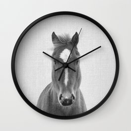 Horse II - Black & White Wall Clock