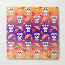 Cute happy funny baby puppy Schnauzers, sweet adorable yummy Kawaii croissants and red ripe summer strawberries cartoon purple orange design Metal Print
