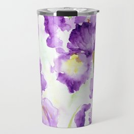 Watercolor Blue Iris Flowers Travel Mug