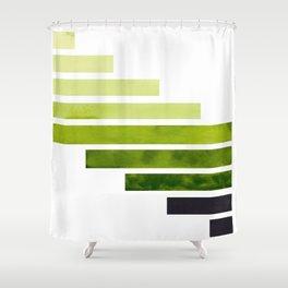 Green Minimalist Mid Century Modern Inca Watercolor Stripes Staggered Symmetrical Pattern Shower Curtain