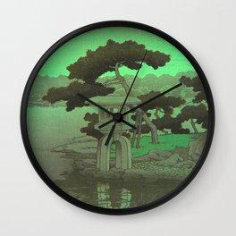 Kawase Hasui Vintage Japanese Woodblock Print Glowing Green Neon Sky Over A Zen Garden Shrine Wall Clock