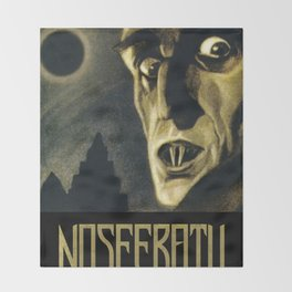 Nosferatu, Vintage Horror Movie Poster Throw Blanket