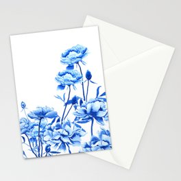 blue peonies Stationery Cards