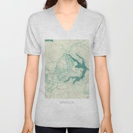 Brasilia Map Blue Vintage Unisex V-Neck