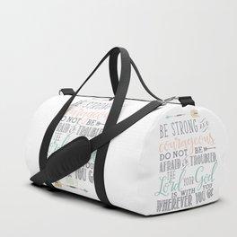 Joshua 1:9 Christian Bible Verse Typography Design Duffle Bag