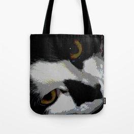 Black white cat Tote Bag