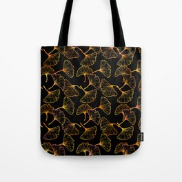 Ginkgo Leaf (Black Glow) - Gold Tote Bag