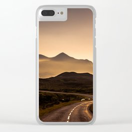 Sunset Mountain Road Clear iPhone Case