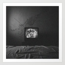 Vaporwave kiss on tv Art Print