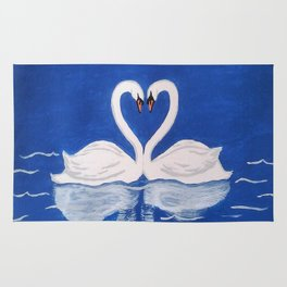 Beautiful Love Swans Rug