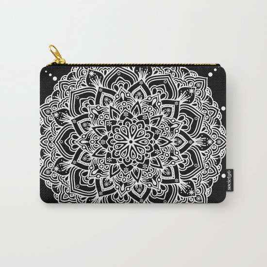 White Mandala With Droplets On Black Carry-All Pouch