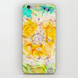 Watercolor Flower Painting, Modern Abstract  Bloom in Orange & Lime Green iPhone Skin