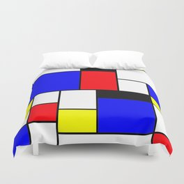 Red Blue Yellow Geometric Squares Duvet Cover