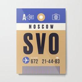 Baggage Tag A - SVO Moscow Sheremetyevo Russia Metal Print