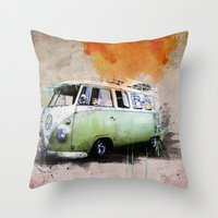 volkswagen Throw Pillows featuring vintage volkswagen by d.ts