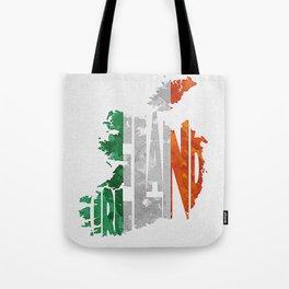 Ireland Typographic Flag Map Art Tote Bag