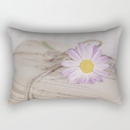 Shabby Chic Old Letters And Daisy Rectangular Pillow