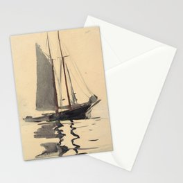 Vintage Schooner Sailboat Watercolor Painting (1894) Stationery Cards