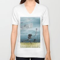 runner V-neck T-shirts featuring Runner by Tony Vazquez