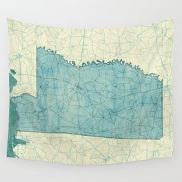 Mississippi State Map Blue Vintage Wall Tapestry