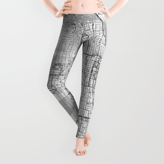 Chicago Map Line Leggings
