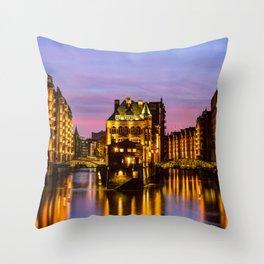 City of Warehouses - Speicherstadt in Hamburg, Germany Throw Pillow