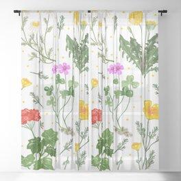 Spring Wildflowers Sheer Curtain