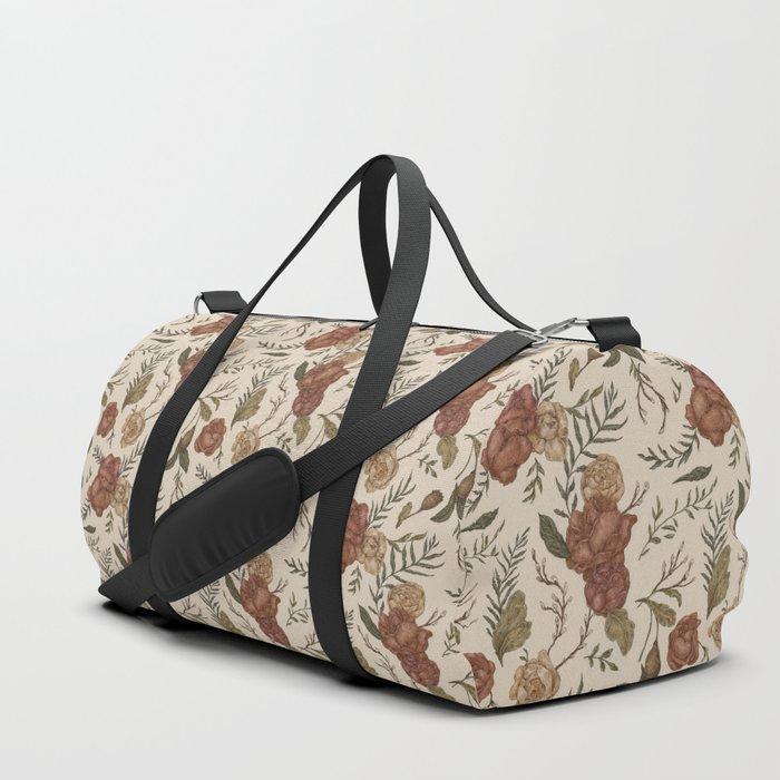 Antique Floral Pattern Duffle Bag