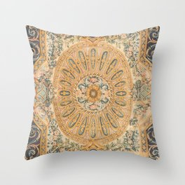 Louvre Fame Carpet // 16th Century Sunflower Yellow Blue Gold Colorful Ornate Accent Rug Pattern Throw Pillow