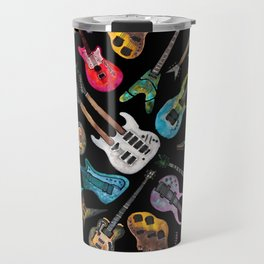 Electric Guitars on Black Travel Mug