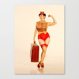 """""""Belle Hop"""" - The Playful Pinup - Retro Bell Hop Pinup Girl by Maxwell H. Johnson Canvas Print"""