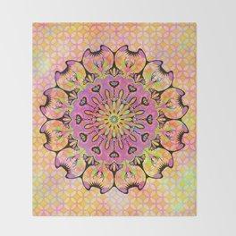 Pastel Rainbow Flower Mandala, Ultra Violet Geometric Boho Kaleidoscope Popart Throw Blanket