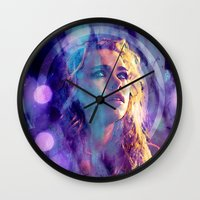 bad wolf Wall Clocks featuring Bad Wolf by Sirenphotos