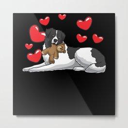 Tornjak Dog With Stuffed Animal And Hearts Metal Print