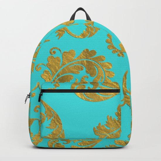 Queenlike on aqua - Gold glitter ornaments on aqua background- pattern Backpack