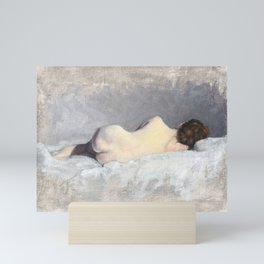 Soft Pastel Nude Female Oil painting of Woman Sleeping Mini Art Print