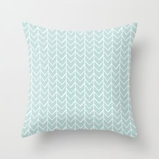 Herringbone Mint Throw Pillow