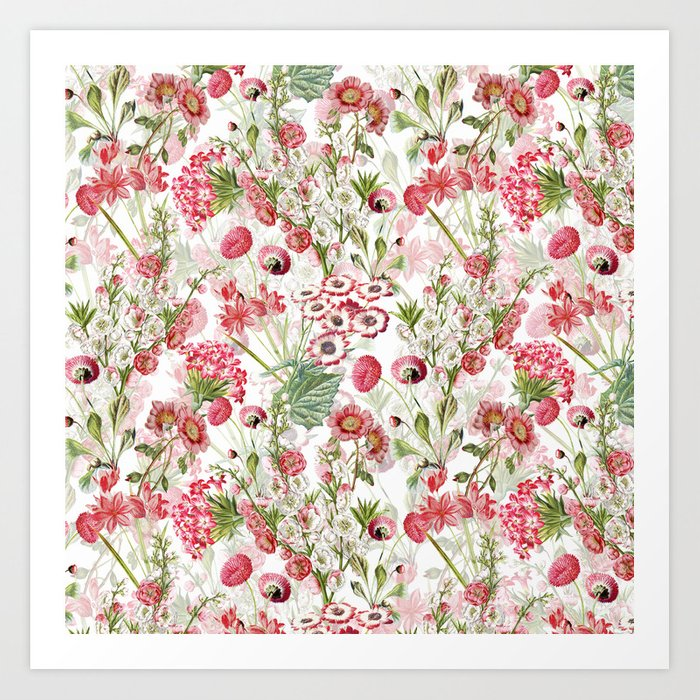 Vintage Shabby Chic Pink And White Summer Flowers Art Print By