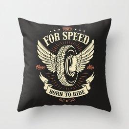 Motorcycle Club Illustration Throw Pillow