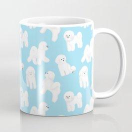 Bichon Frise Pattern (Blue Background) Coffee Mug