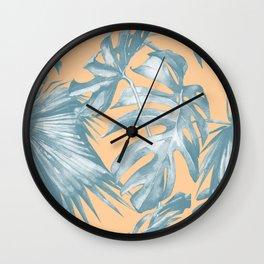 Island Vacation Hibiscus Palm Mango Ocean Blue Wall Clock