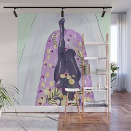 Woman Taking a Bath in Lilac Water with Lemon Slices, Flowers and Palm Leaves Wall Mural