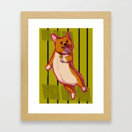 Happy Corgi Framed Art Print