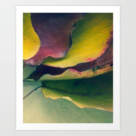 Fall Leaves II - Yellow, Lime Green, Red Purple Art Print