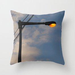 Street Lamp Post Evening Sky Throw Pillow
