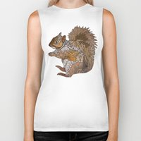 woodland Biker Tanks featuring Woodland Squirrel by ArtLovePassion