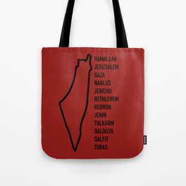 Palestinian Cities x Red Tote Bag