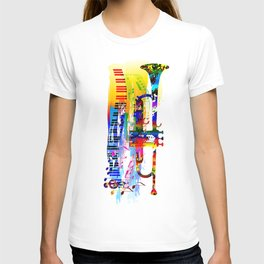Abstract colorful music instrument painting.Trumpet, piano, musical notes, color splash, treble clef T-shirt