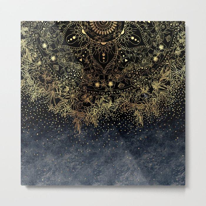 Stylish Gold floral mandala and confetti Metal Print