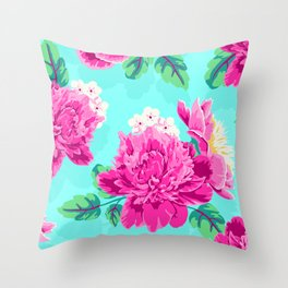 Bright Flowers Pretty Peonies Throw Pillow